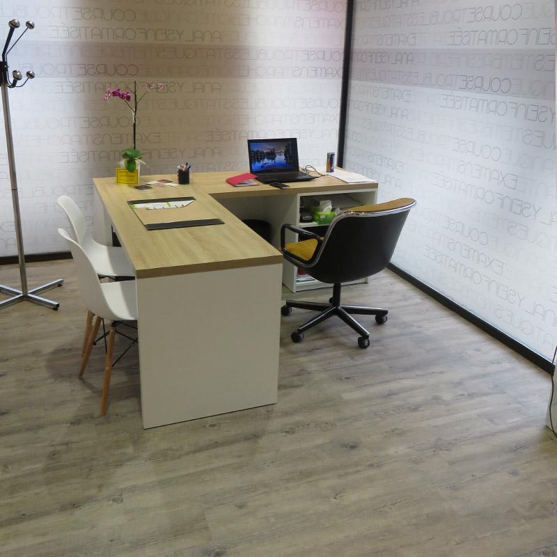 Pose revêtement PVC cabinet orthophoniste Montluel